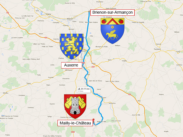 Brienon-sur-Armançon - Auxerre - Mailly-le-Château - 57 км