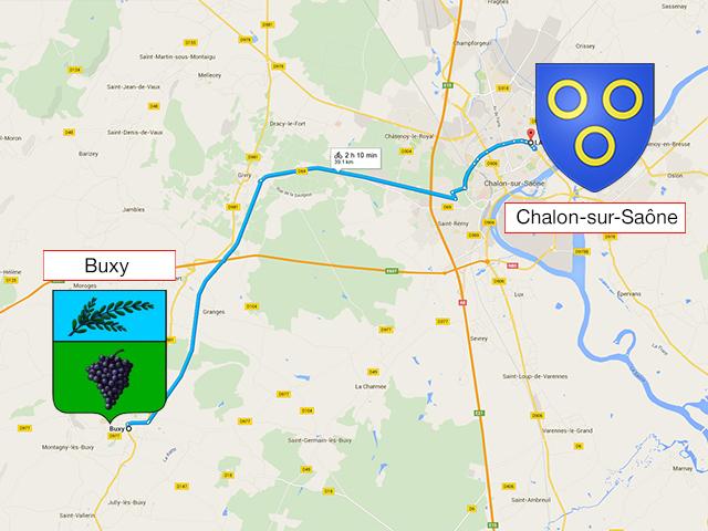 Chalon-sur-Saône - Buxy - Chalon-sur-Saône - 42 км