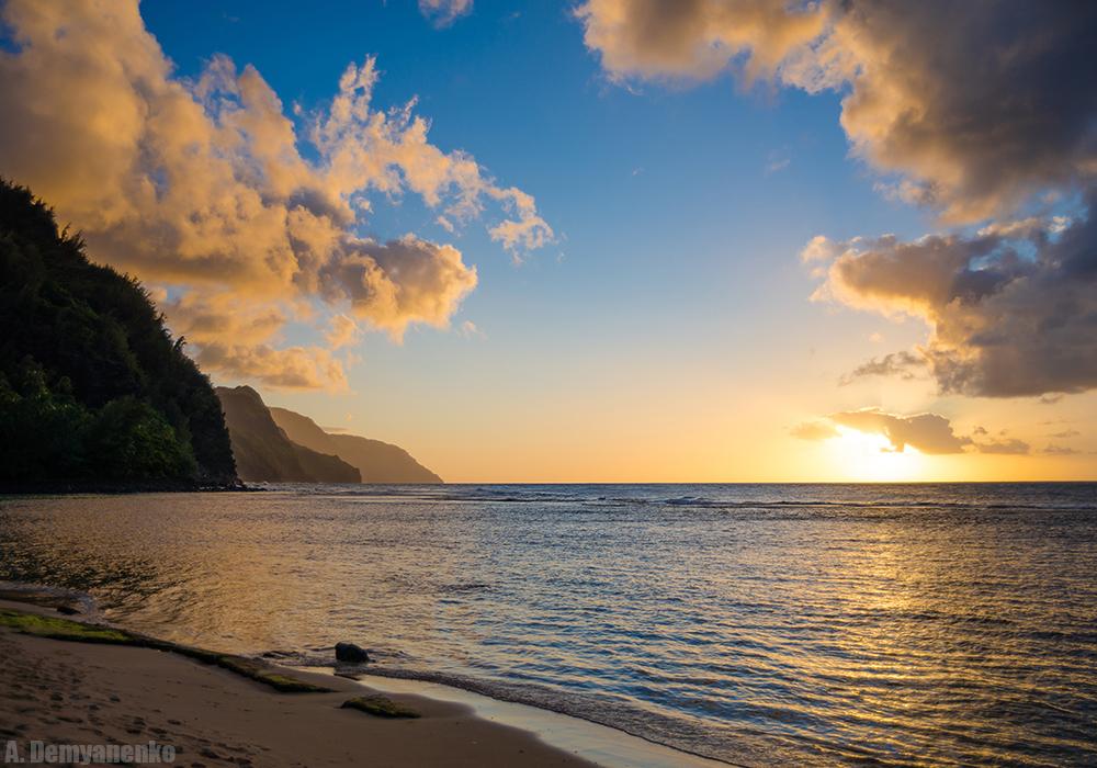 Закат на острове Кауаи