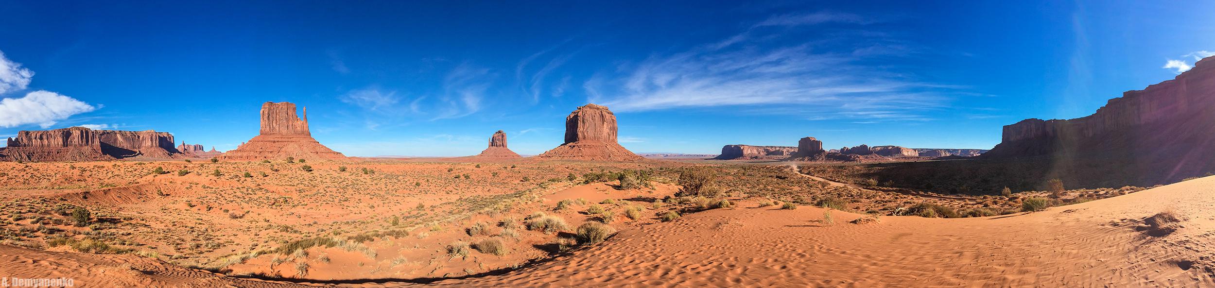 Долина Монументов — Monument Valley (панорама кликабельна)