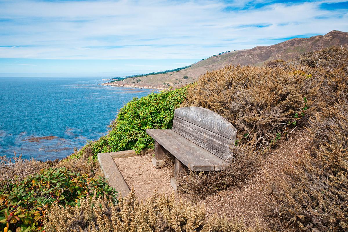 Одно из моих самых любимых мест - скамейка на вершине высокого холма...